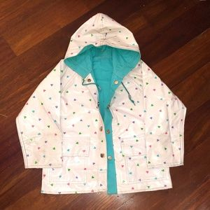 Other - Girls Size 4 White Teal Hearts Raincoat